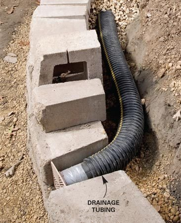<b>Lay perforated drainage tubing at base</b></br> Water-soaked soil is the worst enemy of retaining walls because it exerts enormous pressure behind the wall. Adding good drainage behind block or stone walls is crucial for long-lasting, bulge-free walls. Start by laying perforated plastic drainage tubing along the base of the wall slightly above ground level so it can drain to daylight. Slope the tubing about 1/4 in. per foot.