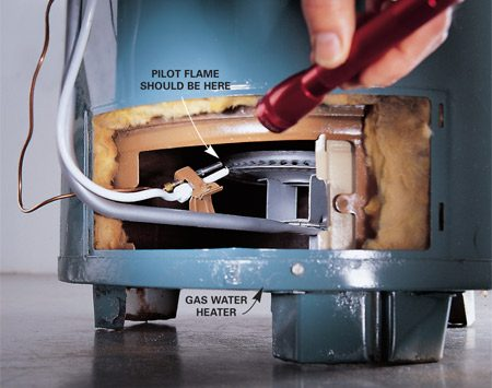 <b>Check the water heater pilot light</b></br> Before you call the plumber, remove the metal cover located at the bottom of the water heater or simply look through the glass door to see if the pilot is lit. If you don't see a small pilot light flame, follow the instructions for relighting the pilot on the label pasted to the tank. Some high-efficiency water heaters don't have a pilot light that stays lit all the time. If you have one of these, check your owner's manual before you reach for the phone.
