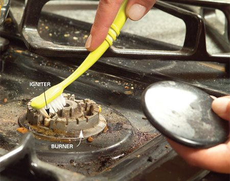 <b>Check stove power source</b></br> If you don't hear gas coming out when the burner is turned on, gas isn't getting to the stove.  Check to make sure the gas is turned on. If you hear gas coming out but the burner won't light, make sure the stove is plugged in. Even gas stoves need power. If the stove is getting gas and has power, clean the igniter near the burner or clean out the pilot light hole.