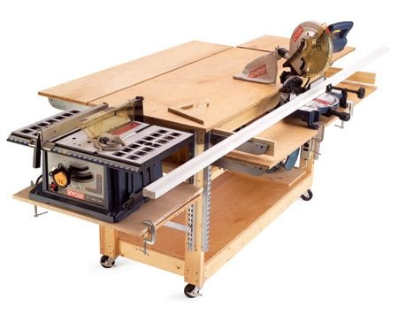 <b>Build a rolling workbench</b></br> If your garage does double duty as parking space and work space, a rolling workbench is essential. It lets you convert your garage into a workshop quickly and rolls up against the  wall to restore parking space. The version shown here began as a standard rolling bench made from 2x4s and plywood.  Then we added a slick feature: heavy-duty shelf brackets that make it the Swiss army knife of workbenches.   <a href='http://www.familyhandyman.com/search/workbenches?searchSource=hdrbox'>See plans for  a variety of workbenches here</a>.