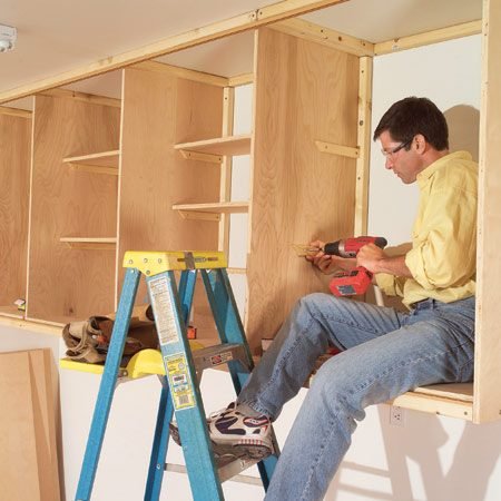 <b>Simple cabinets build fast and easy</b></br> You don't have to be a cabinetmaker to build big, sturdy cabinets— especially if you build them in place. All you have to do is screw 2x2s to the wall and ceiling and then screw plywood panels to the 2x2s to form the top, bottom and sides of cabinet boxes. This approach is simple, fast and economical; the materials cost about $250. <a href='http://www.familyhandyman.com/DIY-Projects/Home-Organization/Garage-Storage/installing-large-garage-cabinets'>Find the complete story on building these cabinets here</a>.