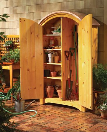 <b>Build a handsome outdoor cabinet</b></br> Sometimes the best cure for garage chaos is to add storage space elsewhere. A small locker that holds garden gear, for example, provides big relief to a crowded garage  <a href='http://www.familyhandyman.com/DIY-Projects/Home-Organization/Tool-Storage/garden-closet-storage-project'>Find step-by-step directions for building an outdoor storage cabinet here</a>.