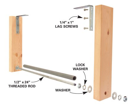 <b>Build braces with PVC conduit and wood</b></br> Fasten the corner braces to ceiling joists with 2-in. lag screws. Secure the ladder with an elastic cord so it can't roll out and fall.