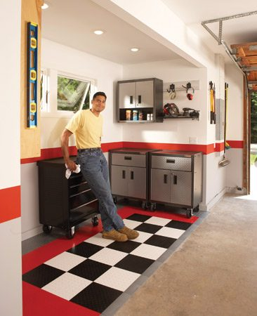 "<b>Build a large ""bump out""</b></br> Whether you need more storage space or more work space, the ultimate solution for a too-small garage is an addition. In many cases, you can knock out a section of garage wall. Install a header to support the weight of the roof, and build a large ""bump-out."""