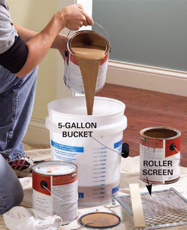 <b>Mix paint in a large bucket</b></br> <p>Once paint is dry, you can't  just pull the tape off the trim. Paint    forms a film between the wall  and the tape, and removing the    tape tears pieces of dried paint  off the wall. So before pulling off    the tape, cut it loose. </p> <p>Wait for the paint to completely  dry, at least 24 hours,    then use a sharp utility knife  or box cutter knife to slice    through the film. Start in an  inconspicuous area to    make sure the paint is hard  enough to slice    cleanly. If you cut the paint  while it's still    gummy, you'll make a mess. As  you    cut the paint, pull up the tape  at a    45-degree angle. </p>
