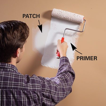 <b>Roll on primer over patches</b></br>