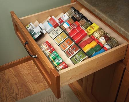 <b>Organize spices with angled shelving</b></br>