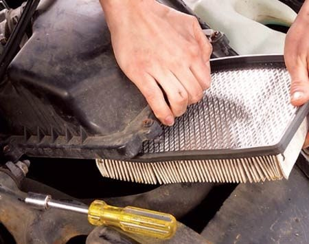 <b>Replace your air filter often</b></br> Your engine sucks in 14  million gallons of air through the filter every year. On older vehicles  (pre-1999) a dirty air filter increases fuel usage by almost 10 percent ($350  per year, or 35¢ per gallon). On newer vehicles, the computer is smart enough  to detect the lower airflow, and it cuts back on fuel. So your engine will lack  power and pick-up. Check the filter when you change your oil and replace it at  least once a year, or more if you drive in dirty, dusty conditions.
