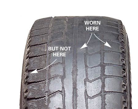 <b>Check tire tread for uneven wear</b></br> Uneven tread wear like this can cost hundreds of dollars a year in extra gas.