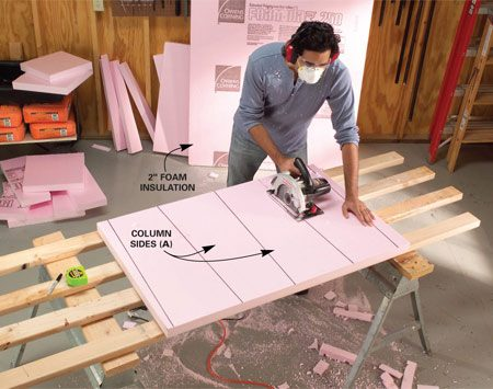 <b>Photo 1: Cut the foam pieces</b></br> Mark out the form parts and cut them with a circular saw. Support the foam with 2x4s. Assemble the column form parts with duct tape.