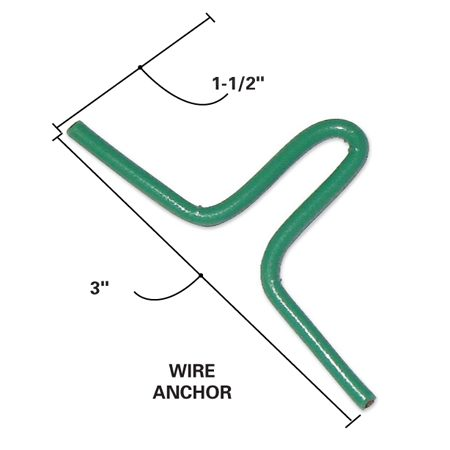 <b>Detail of a wire anchor</b></br> Place the wire anchors in the basin form.