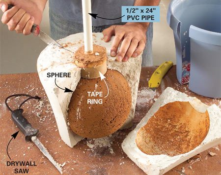 <b>Photo 7: Break apart the sphere form</b></br> Cut away the plastic pot with a utility knife. Saw deep kerfs in the sphere form and break it open by prying with a stiff putty knife.