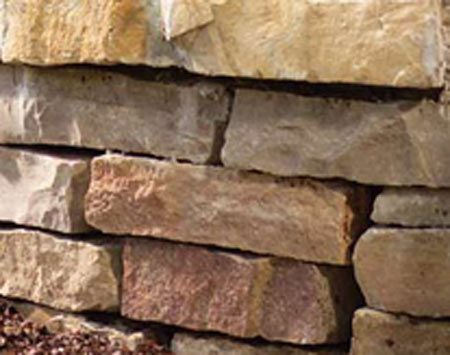 <b>Natural stone</b><br/>The rough, randomly stacked stone softens with time and weathering, growing more attractive as it ages.