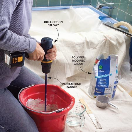 <b>Photo 4A: Mix to a stiff consistency</b></br> Mix the grout to the consistency of peanut butter.