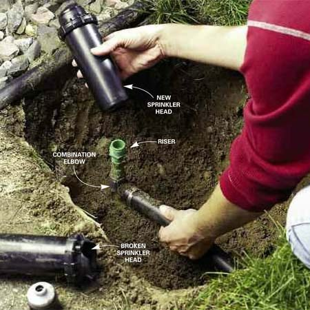 <b>Replace a sprinkler head</b></br> Dig around the sprinkler head to expose the riser. Unscrew the broken sprinkler head from the riser. Install the new head, turning it tight with your hands.