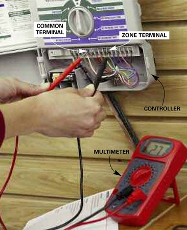 <b>Check for low voltage</b></br> Check the voltage to the nonworking zone using a multimeter. Touch the leads to the common terminal and zone terminal. If the voltage is too low, replace the controller.