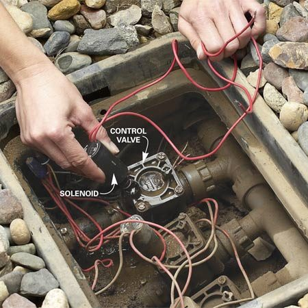 <b>Photo 1: Replace the solenoid</b></br> Disconnect the wires and unscrew the defective solenoid from the control valve. Insert a new one and turn it until it's finger-tight.