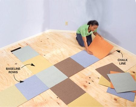 <b>Photo 3: Starting rows</b><br/>Lay carpet squares along both baselines, starting at the center. Remove the protective film, butt the squares tightly and adhere them to the floor.