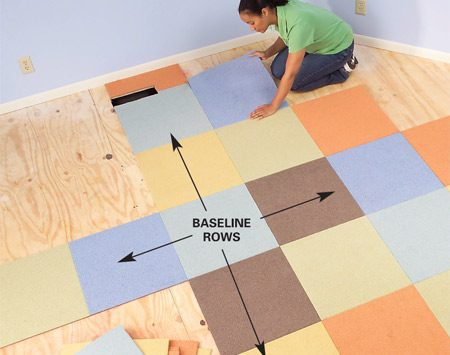 <b>Photo 5: Fill in</b><br/>Install carpet squares in each quadrant, starting at the center and moving outward. Adhere only the squares along the baselines and walls.