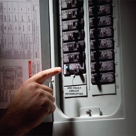 <b>AFCI in main panel</b></br> You'll find AFCIs in the main electrical panel or a subpanel. Reset it like you would a standard circuit breaker.