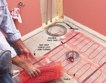<b>Mesh under tile</b></br> Cut mesh mats to fit the floor. Position mats with double-face tape and fasten with glue or staples. Cover the mesh with thin-set or self-leveling compound.