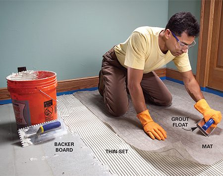 <b>Photo 1: Under tile</b></br> Lay the mat over thin-set and force it firmly into the thin-set with a grout float. After it hardens, comb more thin-set over the mat to set ceramic tile.