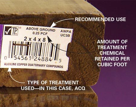 <b>Close-up of a treatment label</b></br> When you're buying treated lumber, look at the tag on the end to find out the type of chemical treatment and the preservation retention level.