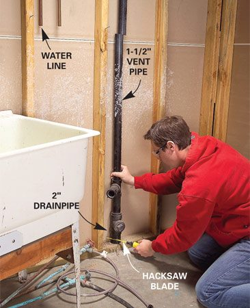 <b>Photo 1: Cut out the vent pipe</b></br> Shut off the main water valve and open the laundry tub valves to drain the water. Cut out the old water supply lines. Disconnect the old trap and cut the drain and vent pipes with a hacksaw or reciprocating saw.