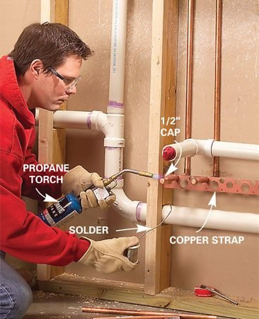 <b>Photo 6: Solder the water lines to a support strap</b></br> Stub out the copper water lines about 6 in. and cap them. Solder them to a copper support strap. Call for a plumbing inspection. Then cover the walls with drywall.