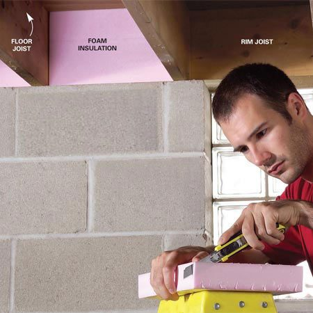 <b>Photo 1: Cut the strips to size</b></br> Cut rigid foam insulation into strips with a table saw or a circular saw. Cut the strips to fit between floor joists using a box cutter.