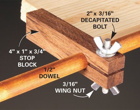<b>Close-up of stop block</b></br> The stop block slides on a 1/2-in. dowel.