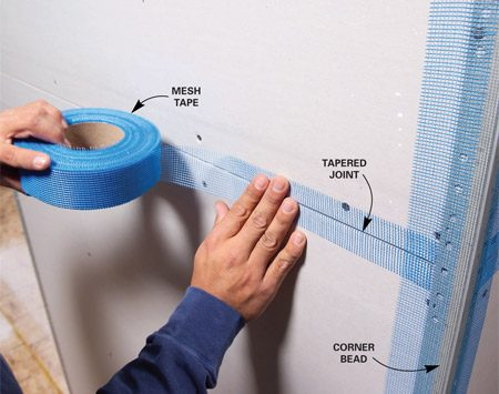 <b>Mesh tape</b></br> Apply adhesive-backed mesh tape to avoid fussing with paper tape while you spread joint compound.