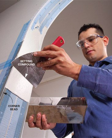 <b>Deep joints get setting-type compound</b></br> Mix setting compound with water for deep filling around corner bead, tapered joints and gaps in drywall.
