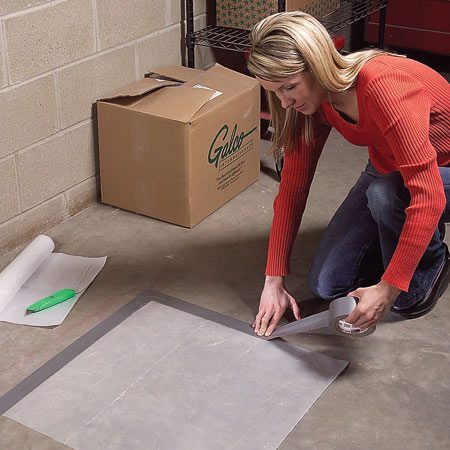 <b>Photo 1: Plastic test</b></br> Tape plastic to the concrete floor and leave it for one day.
