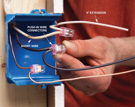 <b>Mistake 2: Wires too short</b></br> Wires that are cut too short make wire connections difficult and—since you're more likely to make poor connections—dangerous. Leave the wires long enough to protrude at least 3 in. from the box.