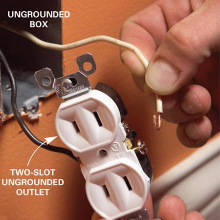 <b>Solution: Install a two-slot outlet</b></br> <p>If you have two-slot outlets, it's tempting to replace them with three-slot outlets so you can plug in three-prong plugs. But don't do this unless you're sure there's a ground available. Use a tester to see if your outlet is grounded. A series of lights indicates whether the outlet is wired correctly or what fault exists. These testers are readily available at home centers and hardware stores.</p>  <p>If you discover a three-slot outlet in an ungrounded box, the easiest fix is to simply replace it with a two-slot outlet as shown.</p>