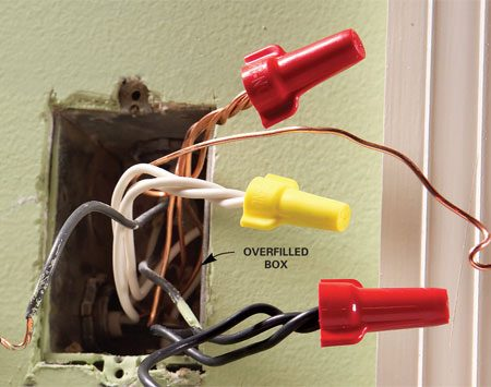 <b>Mistake: Box too small</b></br> Too many wires stuffed into a box can cause dangerous overheating, short-circuiting and fire. The National Electrical Code specifies minimum box sizes to reduce this risk.