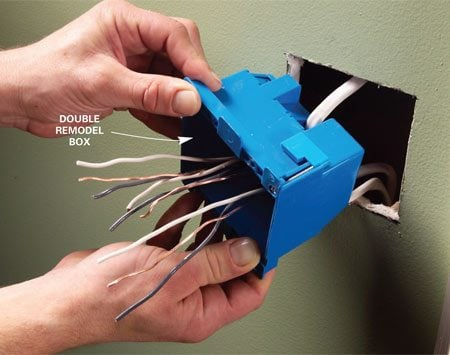 <b>Solution: Install a larger box</b></br> <p>To figure the minimum box size required, add up the items in the box:</p>  <p>1 - for each hot wire and neutral wire entering the box<br> 1 - for all the ground wires combined<br> 1 - for all the cable clamps combined<br> 2 - for each device (switch or outlet—but not light fixtures)</p>  <p>Multiply the total by 2.00 for 14-gauge wire and by 2.25 for 12-gauge wire to get the minimum box size required in cubic inches. Then choose a box with at least this much volume. Plastic boxes have the volume stamped inside, usually on the back. Steel box capacities are listed in the electrical code. Steel boxes won't be labeled, so you'll have to measure the height, width and depth of the interior. Then multiply to find the volume.</p>