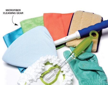 <b>Cleaning gear</b></br> You can clean just about anything with microfiber cleaners.