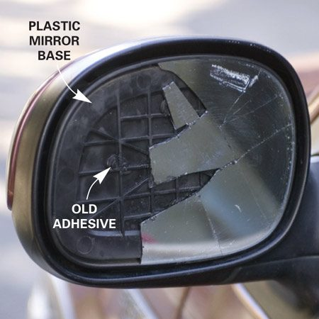 <b>Photo 1: Prep the broken mirror</b></br> Remove the loose pieces of glass and clean the remaining glass and the base with glass cleaner.