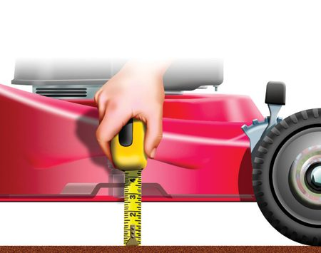 <b>Set the mower blade height</b></br> Measure the cutting height to match the ideal length for the type of grass in your yard.