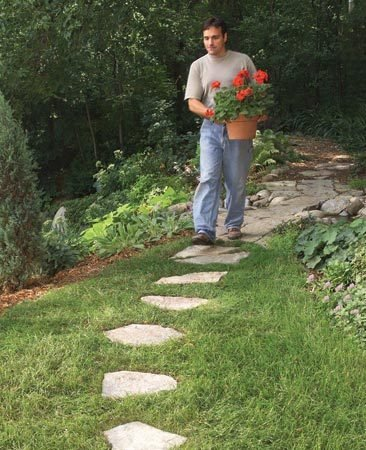 <b>Easy-mow path</b></br> Set path heights so you can mow over the top. You'll eliminate the grass-trimming chore.