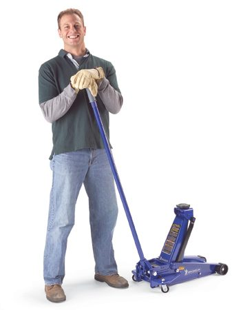 <b>A good quality jack</b></br> Check out the 22-in. lift height on this floor jack. Notice the long pump handle and the wide wheelbase.