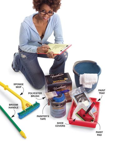 <b>Refinishing kit and other tools</b></br> Restore your floor with a recoating kit and the other items shown above. The total bill for this project is about $100.