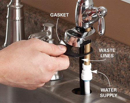 <b>Photo 2: Attach the sink faucet</b></br> Feed the water supply line and the two waste lines up through the hole in the sink and through the gasket and faucet base, then attach them.