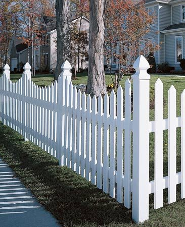 <b>Vinyl</b></br> Vinyl fences offer open picket designs or solid privacy versions.</p> <p>Photo courtesy of CertainTeed</p>