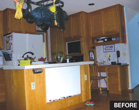 <b>Before</b><br/>The old kitchen was dark and cramped, and lacked personality.