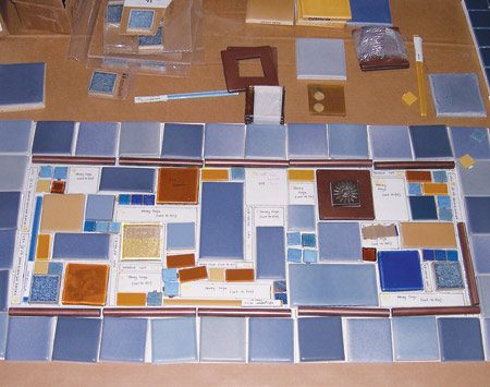<b>Tile layout</b></br> Each section of tile was laid out on a full-scale template before being installed.