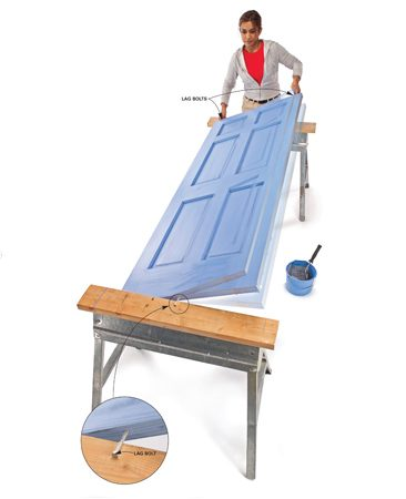 <b>Lag bolt trick</b></br> <p>Paint one side of the door, then grab the two lag bolts at the top and turn the door on the single bolt at the other end.</p>