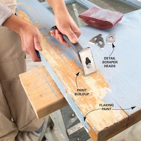 <b>Off with the old</b></br> Scrape off thick paint buildup along the edges of doors to keep them from rubbing against the jamb or stop molding. Also scrape any flaking paint.